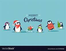 cute penguins banner merry christmas greetings vector image
