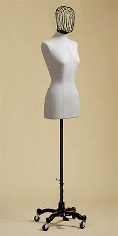 female bust form in grey rough linen with iron wire head