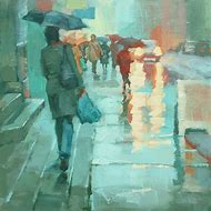Walking in Rain with Umbrella Painting