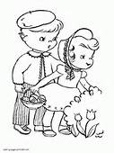 Easter Colouring Pages Bunnies Eggs Baskets