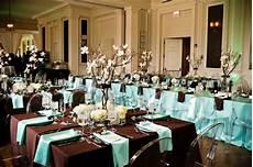 brown black tiffany blue table linens white branch flowers wedding venue pinterest