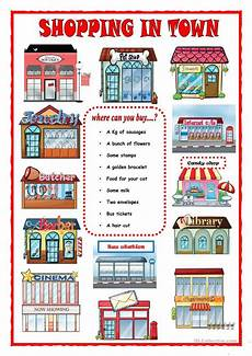 places in town writing worksheets 16040 shopping in town worksheet free esl printable worksheets made by teachers