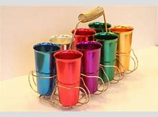 Vintage 1950s Anodized Aluminum Tumbler Set of 8 with Retro