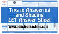 tips in answering and shading let answer sheet non stop teaching