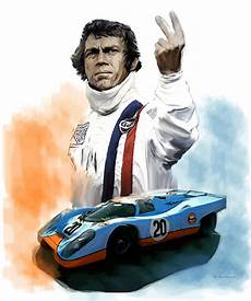 mcqueens le mans steve mcqueen painting by iconic