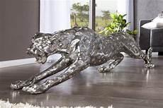riesige design skulptur leopard 145cm silber figur deko