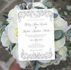 printable wedding invitation template monogram royale silver gray instant download diy ms word