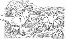 Ausmalbilder Dinosaurier Fleischfresser Tyrannosaurus Rex Ankylosaurus Leptoceratops