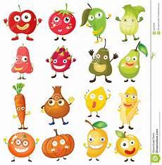 Malvorlagen Obst Mit Gesicht Obst Und Gem 252 Se Mit Gesicht Vektor Abbildung
