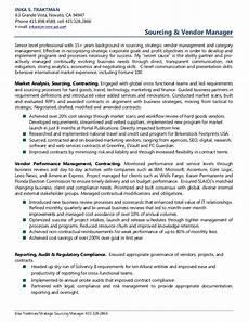 resume sumary for vendor management inka traktman sourcing vendor management resume