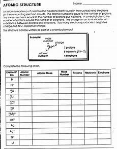 chemistry atomic structure worksheet atomic structure first 20 elements worksheet free