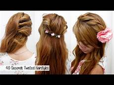 40 seconds twisted hairstyles timed l quick cute easy back to school hair tutorial youtube