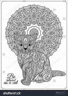 decorative cat mandala vector illustration stock