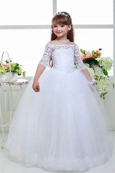 aliexpress com buy new long lace ball gown flower girls dresses simple kids wedding party