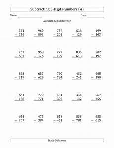free printable math worksheets for grade 3 subtraction 3 digit minus 3 digit subtraction a