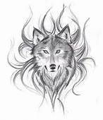 Wolf And Flames Blue Background Red White With