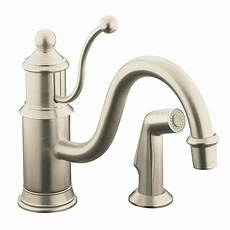 nickel kitchen faucets kohler antique single handle standard kitchen faucet with side sprayer in vibrant brushed nickel