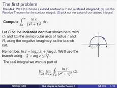 using the residue theorem for improper integrals involving