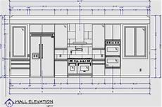 Kitchen Plan Elevation And Section by Kitchen Wall Elevation Kitchen Elevation One Wall