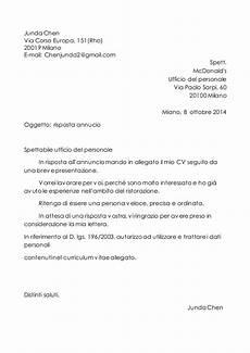 lettera all ufficio personale lettera di presentazione