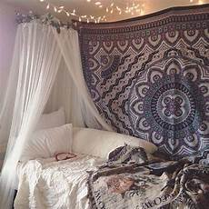 White Tapestry Bedroom Ideas by Tapestry White Sheer Bed Curtains And String Lights On
