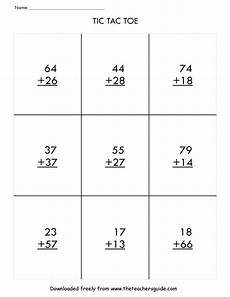 addition with regrouping worksheets with exles 9722 two digit addition with regrouping tic tac toe math student centered