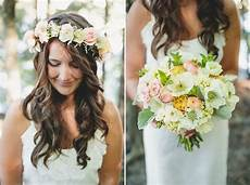 bridal bouquet and bohemian hair wreath with lambs ear onewed com