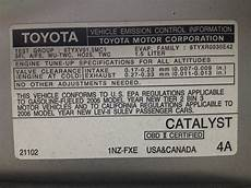 emission control label from a toyota prius the gas engine