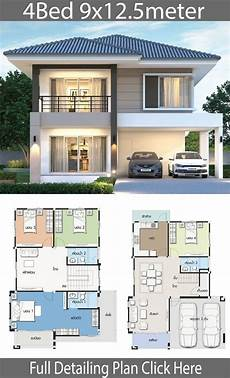 2 storey modern house designs and floor plans house design plan 9x12 5m with 4 bedrooms duplex house