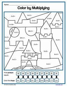 3rd grade math worksheet color by number color by number third grade color by multiplication and