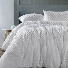 Doona Cover by Chevron White 100 Cotton Chenille Quilt Doona Cover Set
