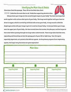 identifying the main idea details worksheet education com