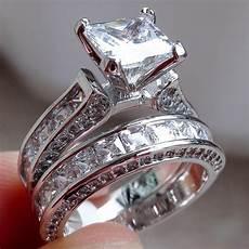 2019 simulated diamond engagement rings wedding band ring