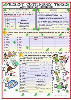 grammar worksheets present continuous tense 24932 present continuous tense affirmative sentence 3 pages 8 tasks with key fully editable