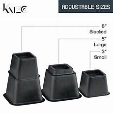 katzco bed risers adjustable heavy duty 8 piece set 3 5 or 8 inches tall with multi