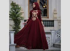 Modest Arabic Muslim Evening Dresses Burgundy A line