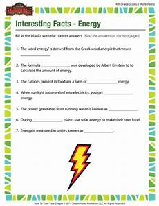interesting facts energy 4th grade science worksheets sod