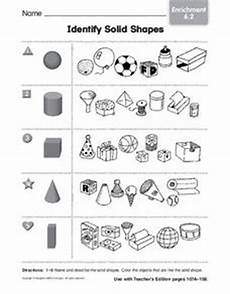 solid shapes worksheets for grade 1 1267 identify solid shapes worksheet for kindergarten 1st grade lesson planet