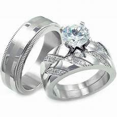 his hers 3 pcs womens engagement stainless steel mens wedding bridal rings ebay