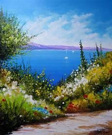 format toile peinture peinture paysage marin tableau peinture bord de mer oeuvre originale bord de mer technique