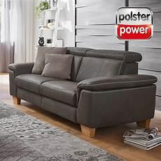 Polsterpower 2 5 Sitzer Ledersofa Grau Online Bei
