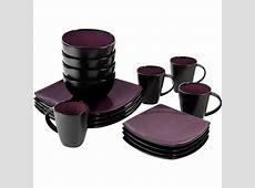 Purple / Black Dinnerware Set Square Round 16 Pcs Dinner