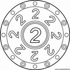 Mandala Malvorlagen Mit Zahlen Kindermandala Mit Der Zahl Zwei Als Kostenlose