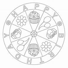 happy birthday mandala for pre k kindergarten and