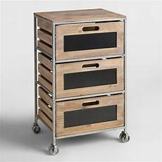 Three Drawer Storage Cart by Wood And Metal 3 Drawer Mackenzie Rolling Cart World Market