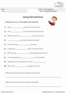 ks2 english worksheet using did and done by primaryleap teaching resources