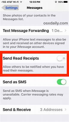 how to turn off read receipts in imessage for ios
