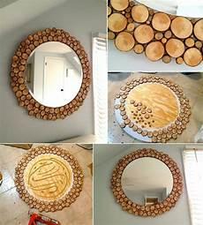 holzscheiben deko selber machen deko holzscheiben spiegel selber machen einfach anleitung