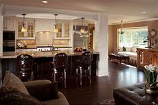 glamorous luxury open kitchen and living room with hardwood flooring within small living