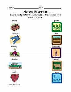 worksheet matching natural resources primary elem by abcteach teaching resources